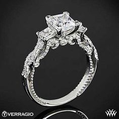 Antique Style HandEngraved Diamond Engagement Ring bridesandrings