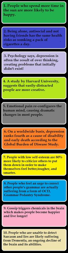 10 psychological facts. Oops, I thought my comment would show up here, either way, please seek out a professional, or become a Psychologist yourself before you start diagnosing yourself or others based on what you see in social media. Facts...ok, show me your APA, and I'll show you mine...