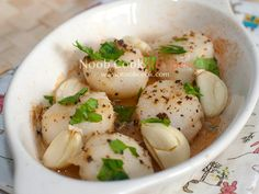 15-Minute Baked Scallops with Garlic #thirdsetisthird