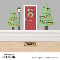 Christmas Elf Door Accessory Set - A set of three decals made from reusable vinyl The Elf, Elf On The Shelf, Christmas Elf, Christmas Ornaments, Elf Door, Tall Lamps, Door Accessories, Deck The Halls, Winter Scenes