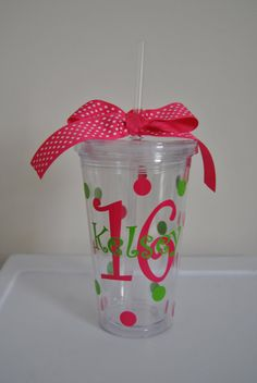 Personalized Tumbler 16 oz MADE TO ORDER by DreamThread on Etsy, $12.00