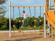 SwiggleKnots Bridge provides a fun and interesting way for kids to climb and play