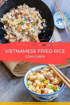 If you have leftover rice, fried rice is an amazing way to use it up. This Vietnamese Com Chien is a flexible dish combining sausages and vegetables. Cook this dish now! Recipe by Asian Inspirations. Vietnamese Fried Rice Recipe, Vietnamese Cuisine, Vietnamese Recipes, Asian Recipes, Vietnamese Sausage, Leftover Rice Recipes, White Rice Recipes, Shrimp Fried Rice, Clean Eating Chicken