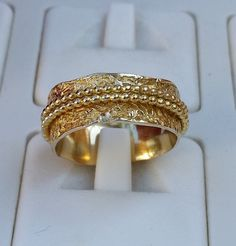 Gold Ring 14K Yellow Gold Spinners Band Wedding by TalyaDesign