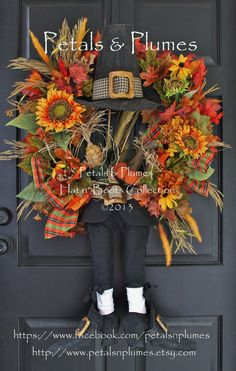 """MADE to ORDER-Thanksgiving Wreath-Fall Wreath-""""Pilgrim"""" in Prim/Dressy Style(See Production Time/Ship)Petals Plumes Original Design - Excellent! Thanksgiving Wreaths, Autumn Wreaths, Holiday Wreaths, Thanksgiving Decorations, Wreath Fall, Fall Decorations, Turkey Wreath, Thanksgiving Ideas, Seasonal Decor"""