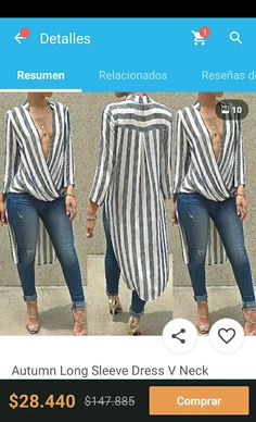 White and Black Striped Longsleeve Tall Blouse Trend Fashion, Moda Fashion, Womens Fashion, Mode Outfits, Casual Outfits, Mode Jeans, Chiffon, Blouse Outfit, Mode Inspiration