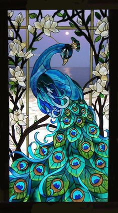 Blue Peacock in a Seaside moonlit background Glass Painting Patterns, Glass Painting Designs, Paint Designs, Peacock Images, Peacock Artwork, Sunrise Background, Art Nouveau, Graphic Wallpaper, Window Art