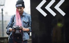 Ain't No Wifey beanie pink hair & blue denim jacket London #Fashion Week Fall 2014 Street Style.