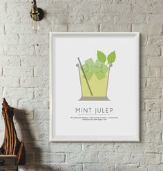 Mint Julep Minimalist Cocktail Posters Classic Cocktail by INK88