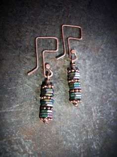 Boho Chic Jewelry-Geometric Jewelry-Rustic Copper Earrings-Gypsy Jewelry-Hematite Hexagon Beaded Earrings-Geekery Earrings by 23littlewishes on Etsy