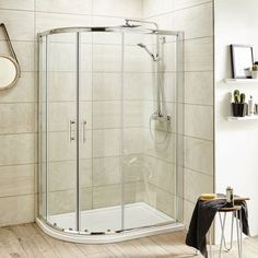 Pacific Offset Quadrant Shower Enclosure Inc. Tray Waste (Left Hand)