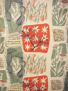 Mary White: 1954. Manufactured by Heal Fabrics - Roller-printed cotton.