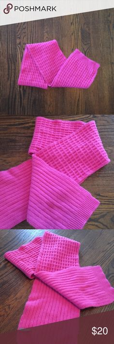 """Cashmere scarf by Ann Taylor 100% cashmere winter scarf by Ann Taylor. Ribbed/waffle knit pattern. Hot pink! Approximately 7"""" wide. So soft! Ann Taylor Accessories Scarves & Wraps"""