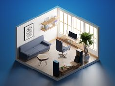 Low poly was coming a little bit short, when it comes to catching the atmosphere of the minimalistic home office with wooden furniture, so I made a semi-realistic scene this time. Bg Design, Bureau Design, Flat Design, House Design, Home Office Setup, Home Office Design, Bedroom Setup, Isometric Design, 3d Home
