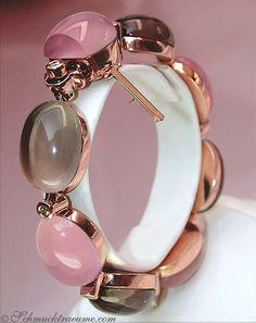 Stunning: Rose Quartz Smoky Quartz Diamond Bracelet, 116,11 cts., RG-18K -- Find out: schmucktraeume.com - Visit us on FB: https://www.facebook.com/pages/Noble-Juwelen/150871984924926 - Any questions? Contact us: info@schmucktraeume.com
