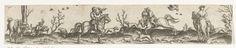 Abraham de Bruyn | Valkenjacht., Abraham de Bruyn, 1565 | Vier ruiters op valkenjacht. Twee valkeniers rijden met een valk in de hand naar elkaar toe. Rechts staat een ruiter naar de jacht van zijn valk te kijken. Links is een jager van zijn paard gestegen om zijn valk te grijpen. Jachthonden rennen heen en weer.