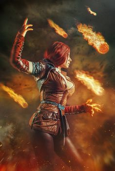 Triss Merigold Cosplay by elenasamko female wizard warlock sorcerer witch sorceress fireball cosplay costume LARP LRP leather armor clothes clothing fashion player character npc | Create your own roleplaying game material w/ RPG Bard: www.rpgbard.com | Writing inspiration for Dungeons and Dragons DND D&D Pathfinder PFRPG Warhammer 40k Star Wars Shadowrun Call of Cthulhu Lord of the Rings LoTR + d20 fantasy science fiction scifi horror design | Not Trusty Sword art: click artwork for source