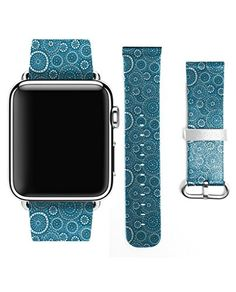 Apple Watch Strap Band Apple Watch 38MM  Strap Band High Quality Premium Strap Band Accessories for Apple Watch 38MM Retro Blue Circle Pattern *** You can find out more details at the link of the image.