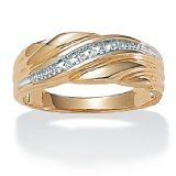 PalmBeach Jewelry Mens Diamond Accent Wedding Band 18k Gold Over Sterling Silver $79.99
