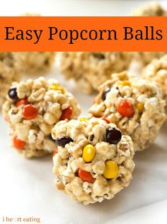 Easy Popcorn Balls - kids love these, they make great treats for movie nights, bonus points they'd be great for a Halloween part!