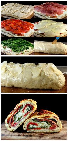 Dough recipe***Three Cheese Broccoli, Roasted Red Pepper, Prosciutto Stromboli with a Crispy Asiago Crust Recipe I Love Food, Good Food, Yummy Food, Gozleme, Appetizer Recipes, Dinner Recipes, Appetizers, Vegetarian Recipes, Cooking Recipes