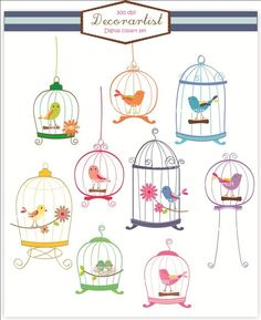 birdcage clipart, birds clipart , 9 Birds and birdcages , Invitations, Card making, PNG File.
