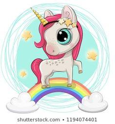 Cartoon Cartoon Unicorn is on the rainbow Unicornios Fofos 23cf19896689d
