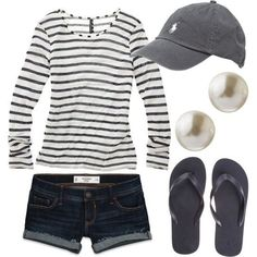 Comfy casual outfit with polo cap! Cool Summer Outfits, Spring Outfits, Cute Outfits, Summer Clothes, Summer Shorts, Outfit Summer, Holiday Outfits, Summer Casual Outfits For Women, Outfit Winter