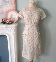 Handmade 40's look but big pockets. Mom would have looked neat in this housedress. ALady Vintage Pink Rose Dress Sheer Vintage Dress by TheVelvetPrincess, $45.00