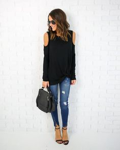 PREORDER - In The Groove Long Sleeve Cold Shoulder Knot Top - Black