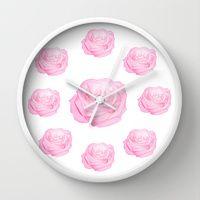 Pastek pink roses Wall Clocks by Laureenr | Society6