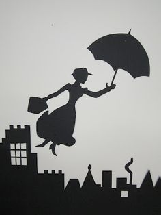 Mary Poppins wall silhouette for a birthday party by artist Cathy McCormick.