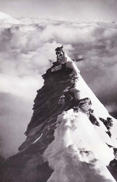 """Scans from """"Images D'Escalades,"""" a collection of mountaineering pictures covering climbs in the Alps – most of them were taken by André Roch, who was both a well respected climber and avalanche expert. I could not find any specific date for when it was pu Alpine Climbing, Mountain Climbing, Rock Climbing, Top Of The World, Wonders Of The World, Everest, Himalaya, The Kooks, The Mountains Are Calling"""