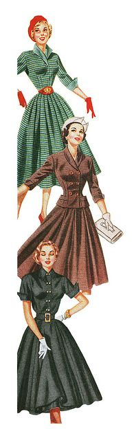 Detail from a 1952 Fashion Frocks ad highlighting three wonderful early fifties daywear frocks. #vintage #1950s #dresses #fashion