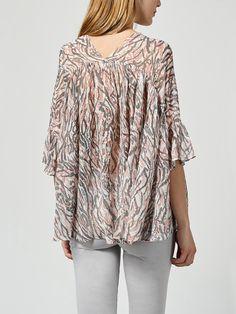 Blusa oversize estampada de seda   Intropia España