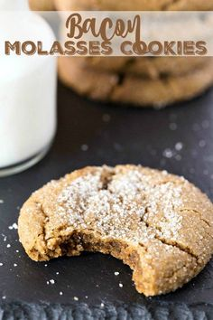 Bacon Molasses Cookies - going to add candied bacon on top No Bake Desserts, Healthy Desserts, Delicious Desserts, Dessert Recipes, Bacon Cookies, Cookies Et Biscuits, Baking Recipes, Cookie Recipes, Candied Bacon