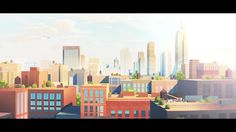 Art&Graft have designed and developed a set of films, press ads and catalogue illustrations for The Flynn, a new, luxury development in the Chelsea district of New York. Building Illustration, Illustration Art Drawing, City Illustration, Landscape Illustration, Anime City, Episode Backgrounds, Abstract City, Cartoon Background, Environment Concept Art