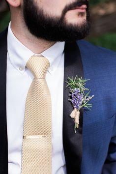 Stylish + hip groom outfit idea - navy tux jacket, gold tie + lavender boutonniere {Lovebird Studio}