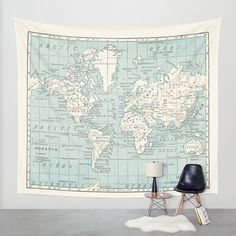 World Map Tapestry Wall hanging vintage map Blue and by Mapology