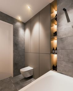 Bathroom Furniture : déco minimaliste appartement Yevhen Zahorodnii -Read More – Contemporary Bathroom Designs, Contemporary Apartment, Contemporary Interior, Contemporary Style, Grey Bathroom Tiles, Grey Bathrooms, Slate Tiles, Interior Color Schemes, Colour Schemes