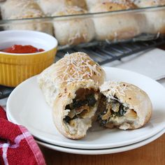 Chevre, onion, and spinach stuffed rolls