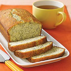 Lemon Poppy-Seed Tea Bread | Instead of baking the tea bread in a loaf pan, line mini cupcake pans with paper cup liners and turn this delicious treat into single serving sizes.  Reduce baking time to about 12-15 minutes.  MyRecipes.com