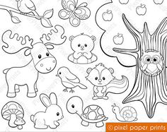 Rainforest animals Digital Stamps Clipart