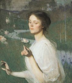 ⊰ Posing with Posies ⊱ paintings of women and flowers - Frank Weston Benson   Spring