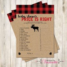 Lumberjack Baby Shower Decorations rustic plaid red black ...