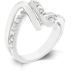 Genuine Rhodium Plated Ring with Pave Round Cut Clear Cubic Zirconia Polished into a Lustrous Silvertone Finish