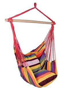 Hammock Hanging Rope Chair Air Outdoor Swing Yard Patio Tree Cotton Solid Wood >>> Click image to review more details.