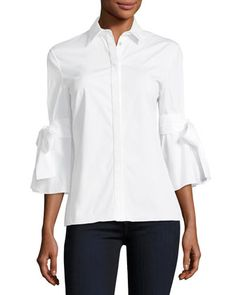 Carolina Herrera Tie-sleeve Poplin Shirt In White Carolina Herrera, Blouse Styles, Blouse Designs, Power Dressing, White Shirts, White Blouses, Fashion Sewing, Cotton Blouses, Poplin