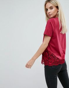 ASOS PETITE T-Shirt with Lace Detail - Red