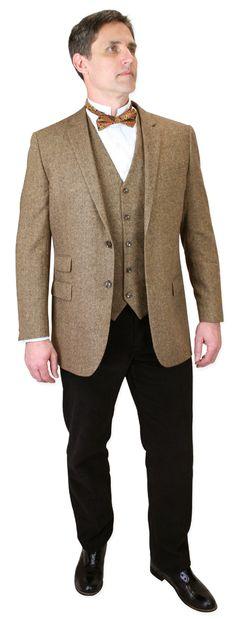 Steampunk Mens Brown Wool Tweed Notch Collar Sack Coat | Gothic | Pirate | LARP…